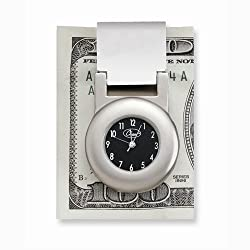 Shiny/matte Finish Metal Financier Money Clip Clock: Length 3.5 in