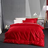 AMWAN Solid Red Luxury Bedding Cover Set King Egyptian Cotton Girls Duvet Comforter Cover Set 3 Piece Wedding Duvet Quilt Cover Set Smooth King Bedding Collection 1 Duvet Cover 2 Pillowcases