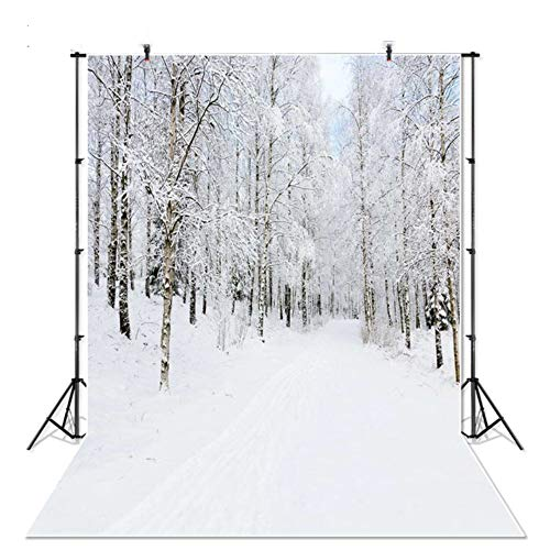 White Christmas backdrops for Photography 5x7ft Winter Snow Forest Wonderland Backgrounds for Family Photos Wrinkle Free Outdoor Holiday Photoshoot ()