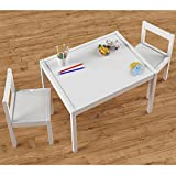 Kid's White Wood Table with 2 Chairs - Furniture Set For Use in Children's Play Room, Kindergartens and Daycares ...