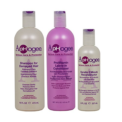 (ApHogee Shampoo for Damaged Hair + ProVitamin Leave-In Conditioner 16oz + Keratin 2 Minute Reconstructor 8oz