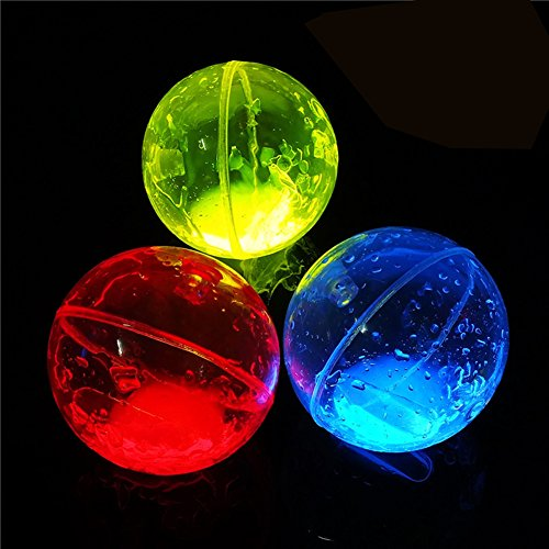 Glow Bounce Kids Light up Toy Balls Glowing in the Dark High Bouncing Balls 2.5 Inch Radom Color Parties Supplies (Ball Bouncing Flash)