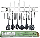 Magnetic Knife Strip 18 Inch - Best Kitchen Knife Holder Wall Mount - Knife Magnet Bar Rack With 6 Hooks in Gift Box - 5 Years Guarantee