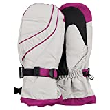 Women's Waterproof Thinsulate Lined Winter Snowboard Mitten (Off White/Pink, Large)