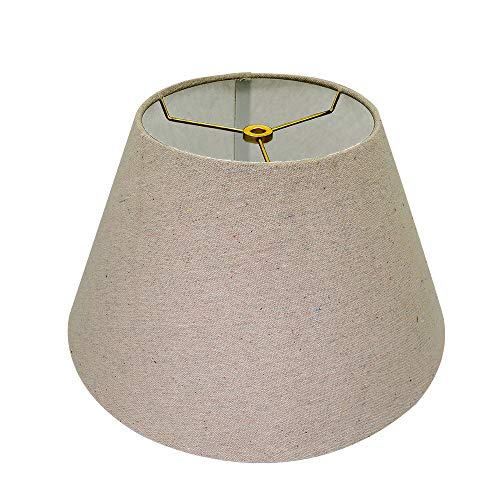 Medium Lamp Shade,Alucset Brown Barrel Fabric Lampshade for Table Lamp and Floor Light,7x13x7.8 inch,Natural Linen Hand Crafted,Spider