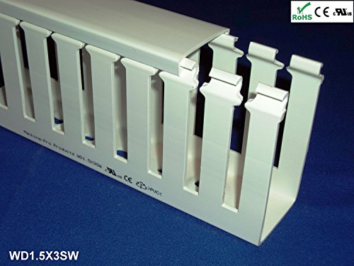 1 1/2x3 Inch, 2m Open Slot Wiring Duct/Cable Raceway with Cover, UL/CE Listed - White (3 Open Slot Wire Duct)