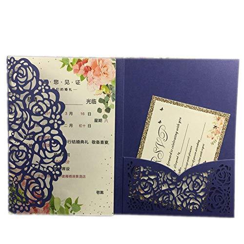 (Wedding Card - Wedding Gift Card - 3d Wedding Card 1pcs Sample Hollow Laser Cut Tri-fold White Rose Flower Pocketfold Wedding Invitation Card Pocket Invite.)