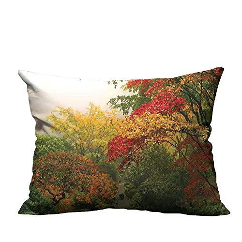 YouXianHome Sofa Waist Cushion Cover Trees in The Fall at Portland Japanese Garden One Foggy Morning Scenery Red Decorative for Kids Adults(Double-Sided Printing) 12x16 inch