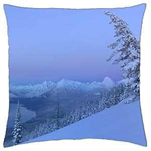 fantastic winter mountain view - Throw Pillow Cover Case (18