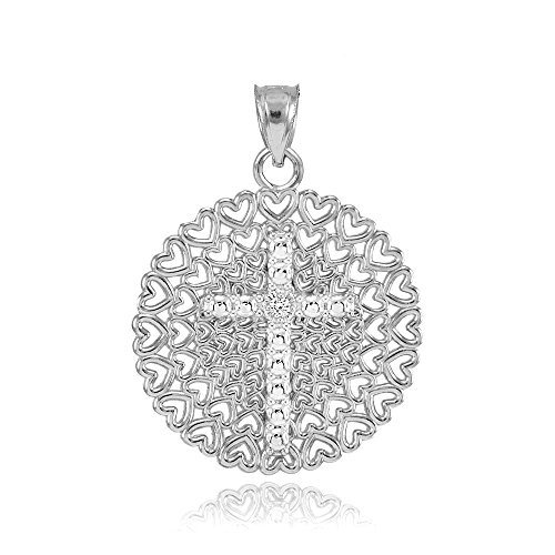 Religious Jewelry by FDJ 925 Sterling Silver Filigree Heart Cross CZ Charm ()