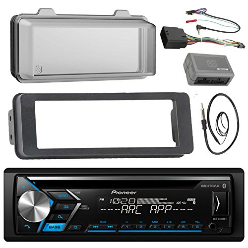Pioneer DEH-S4000BT Stereo CD Receiver Radio - Bundle with Installation Dash Kit + Handle Bar Control Module + Weathershield Cover + Enrock Wire Antenna for 1998 2013 Harley Touring Motorcycle ()