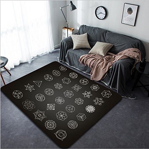 Vanfan Design Home Decorative 407491417 Sacred geometry abstract background Alchemy religion philosophy spirituality hipster symbols and elements Good design for textile t-shirt print flyer and - T-shirt Rug