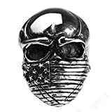 Bishilin Jewelry Men's Rings Stainless Steel with Hood Skull High Polished Rings Silver Size 9
