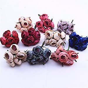 Artificial Flowers Bouquet Fake Flowers Silk Rose Tea Bud Wedding Decoration Bride Headdress Corsage Bracelet Box DIY Party Festival Home Decor Decorative Flower 24pcs 71