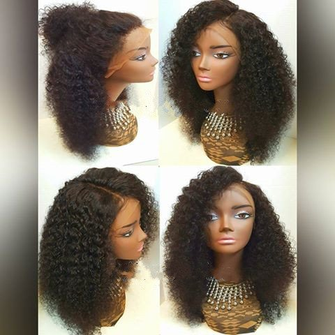 "10"" Kinky Full Lace Human Hair Afro Wigs für African American Women Brazilian Virgin Remy Human Hair Curly Color #2 Dark Brown"