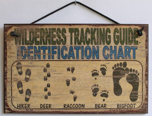 "5x8 Vintage Style Sign Saying, ""WILDERNESS TRACKING GUIDE IDENTIFICATION CHART Hiker, Deer, Raccoon, Bear, Bigfoot"" Decorative Fun Universal Household Signs from Egbert's Treasures"