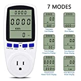 KINCREA Electricity Usage Monitor Plug Power Meter Energy Watt Voltage Amps Meter with Digital LCD Display JKW47