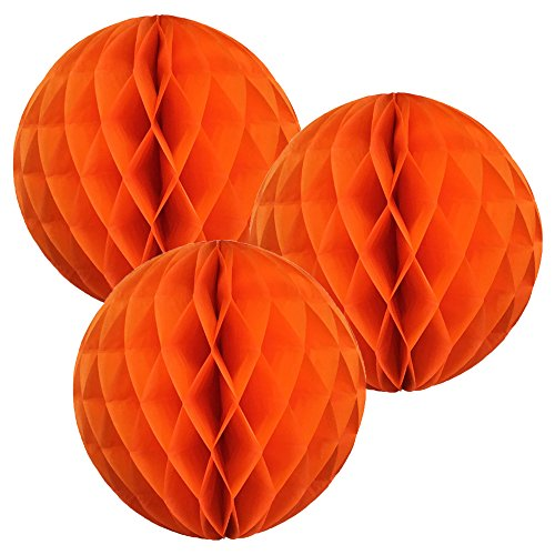 Just Artifacts Tissue Paper Honeycomb Ball (Set of 3, 12inch, Orange) - Click for More Colors & ()