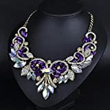 style13 purple - Women Fashion Pendant Crystal Flower Choker Chunky Statement Chain Bib Necklace