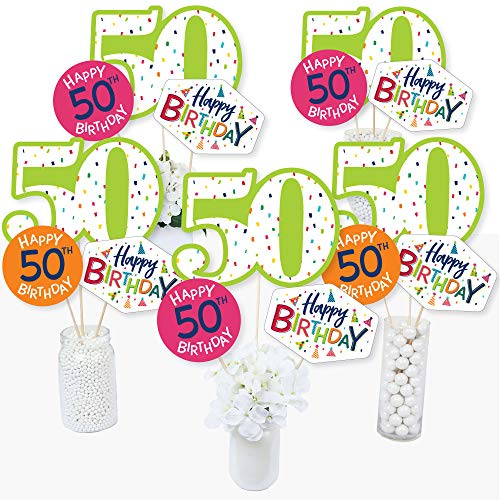 50th Birthday - Cheerful Happy Birthday - Colorful Fiftieth Birthday Party Centerpiece Sticks - Table Toppers - Set of 15 for $<!--$14.99-->