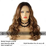 Highlights Hair Color Ombre Brown Body Wavy Glueless Brazilian Human Hair Lace Front Wigs For Women (20inch 180%)