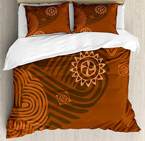 Ambesonne Earth Tones Duvet Cover Set Queen Size, Artistic Ethnic Composition with Floral Intricacy African Folk Details, Decorative 3 Piece Bedding Set with 2 Pillow Shams, Brown Orange Peach