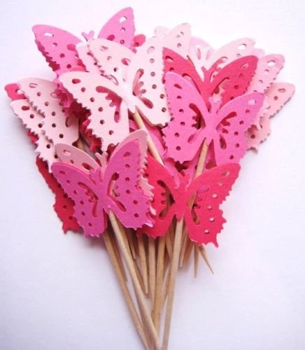 Butterfly Cupcake Picks - 24 Mixed Pink MONARCH BUTTERFLY Party Pick, Cupcake Pick, Toppers No.19