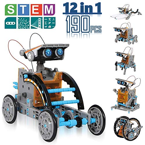 CIRO Solar Robot Creation Kit, 12-in-1 Solar Robot Kit for Kids, STEM Educational Science Toys with Working Solar Powered Motorized Engine and Gears (Robot Kids Making Kit)