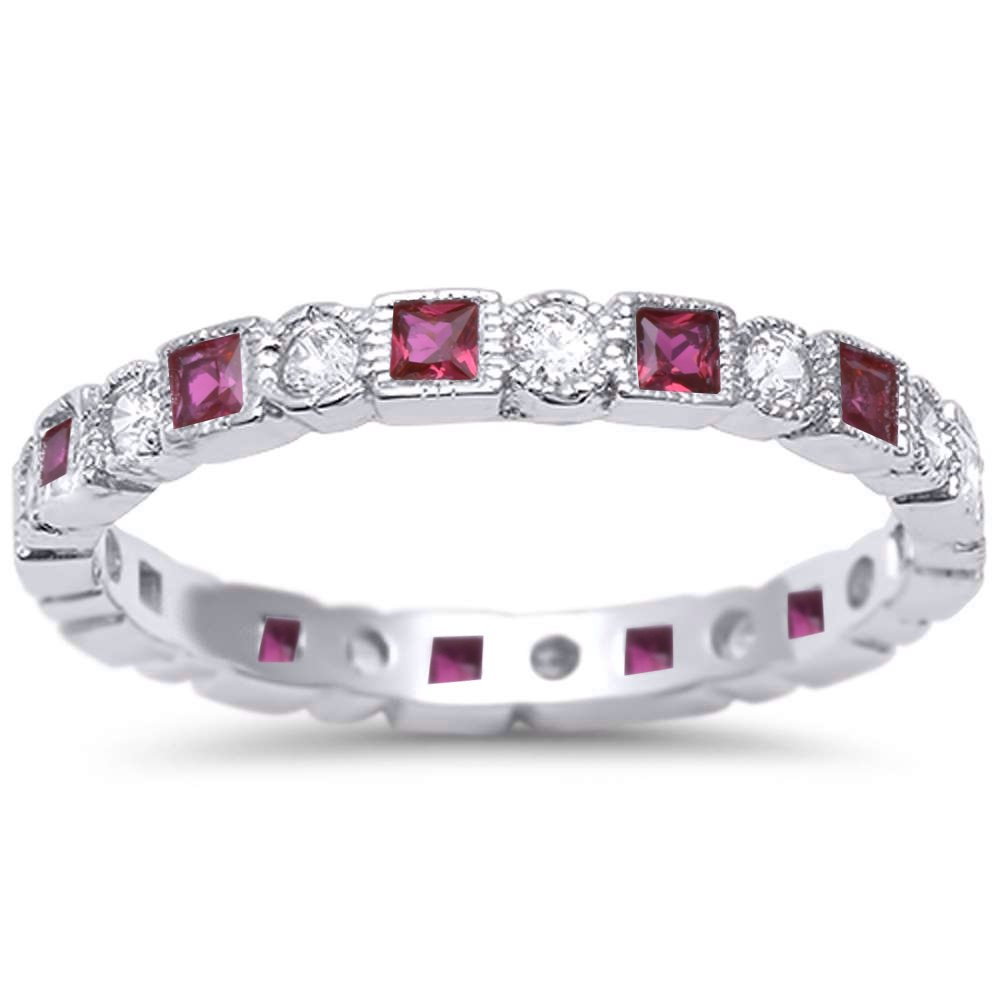 Oxford Diamond Co Antique Style Simulated Ruby & CZ Stackable Eternity Band .925 Sterling Silver Ring Sizes 7