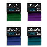 Swingline Colored Staples, Standard, 1/4'' Length, Color Bright Staples, Color Will Vary, 2000/Box, 1 Box (35121)