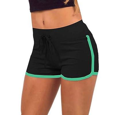 DKXLW Pantalones Cortos De Mujer,Poliéster Algodón Verde Negro Mujeres Shorts Anti Vació Contraste Algodón Cintura Elástica Verano Cintura Baja Cintura Elástica Pantalón Corto,S: Deportes y aire libre