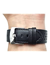22mm Black Vented Racer Genuine Leather Watch Strap Band, with Stainless Steel Buckle, NEW!