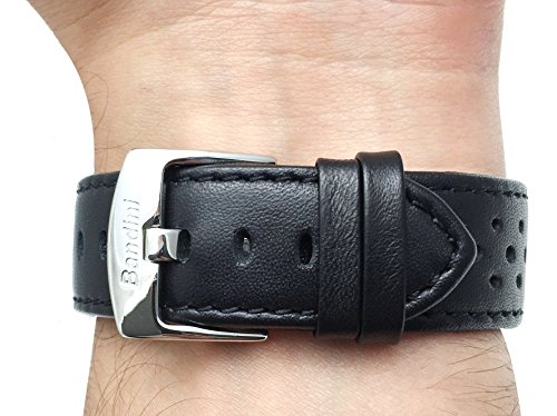 20mm Black Vented Racer Genuine Leather Watch Strap Band, with Stainless Steel Buckle, NEW!