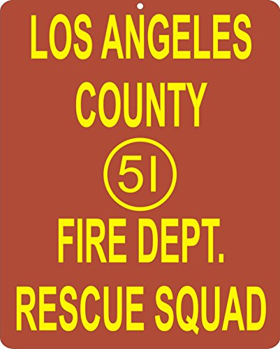 Emergency 51 Los Angeles Fire Department Nostalgic Metal Sign
