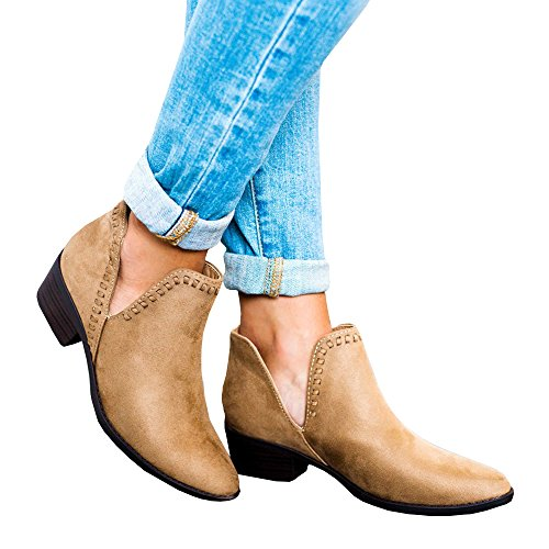 Bbalizko Womens Cut Out Side Stacked Chunky Heel Pointed Toe Ankle Booties Chelsea Boots Khaki ArpU5kJs
