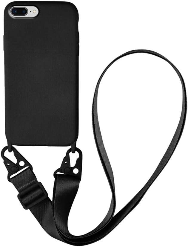 Funda con Cuerda para iPhone 7 Plus/8 Plus,Funda Colgante para movil Carcasa -Carcasa TPU Silicona Case Cover con Colgante Ajustable Collar Correa de Cuello Cadena Cordón