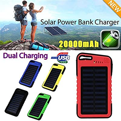 Mchoice 20000 mah Dual-USB Waterproof Solar Power Bank Battery Charger for Cell Phone