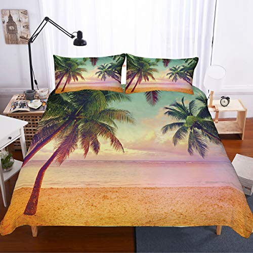 PATATINO MIO 3D Digital Green Palm Trees Beach Ocean Printed Holiday Theme Tropical Island 2PCS(1 Duvet Cover 1 Pillowcase) Duvet Cover Bedding Set for Adults,Boys and Girls,Twin Size