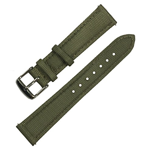 Quick Release Nylon Sailcloth Watch Band, Nylon Full Grain Leather Replacement Watch Strap with Stainless Steel Metal clasp (20MM, army green)