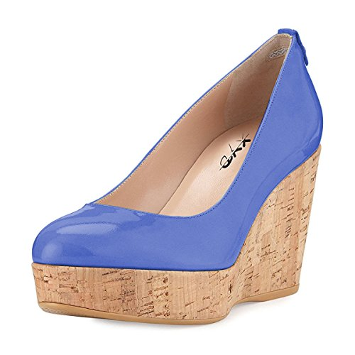 XYD Women Comfort Round Toe Platform Pumps Slip On Patent Wedge Cork High Heel Shoes Size 15 Royal ()