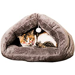 PAWZ Road Cat Cave Bed Kitten Sleep Bag Hanging With a Scrtching Ball Toy Fit Cat Max 33 lbs Color Grey