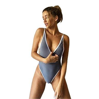 1c1020b2c9e Bookear Swimsuit Swimsuit Swimwear Bathing Suit Women V Neck Thong Bikini  Monokini Swimsuit One Piece Beachwear (Gray, L): Amazon.co.uk: Clothing