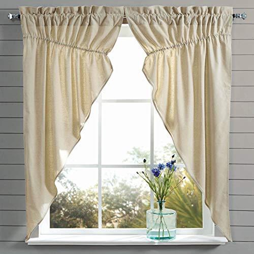 - Piper Classics Mill Creek Farmhouse Chambray Prairie Curtain, Gathered Swag