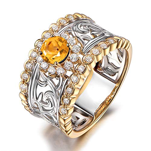 - Beydodo Womens 925 Sterling Silver Rings with Diamonds Hollow Filigree Ring Round Citrine Ring Size 4.5 Rings Engagement Diamond
