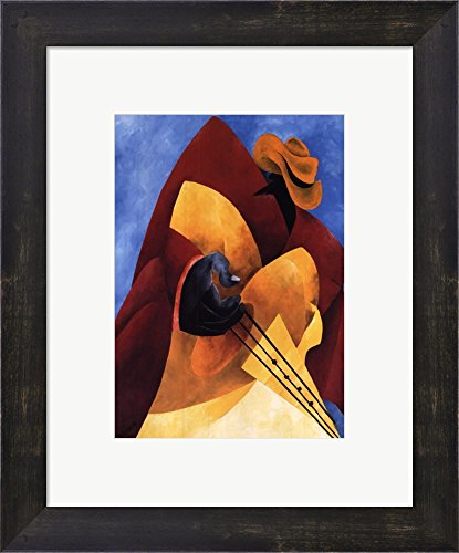 Uptown Blues by Philemon Reid Framed Art Print Wall Picture, Espresso Brown Frame with Hanging Cleat, 12 x 15 inches