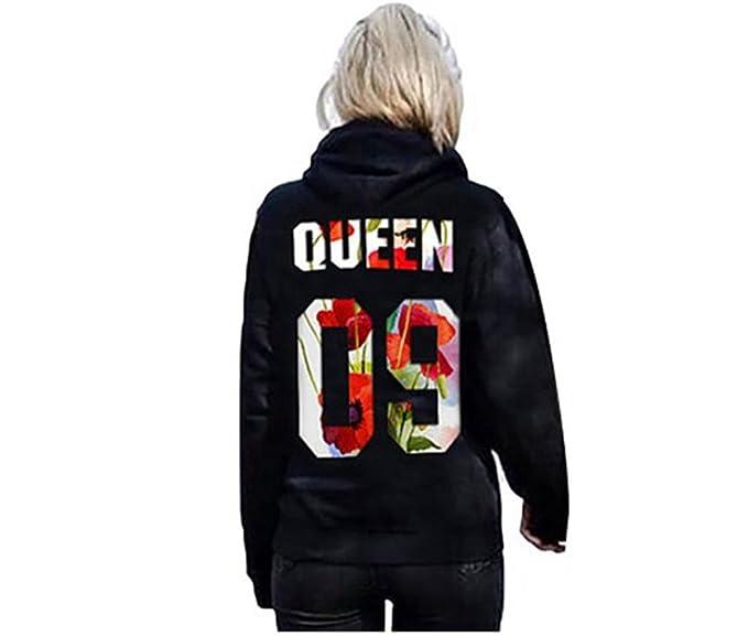 COCO clothing Sudaderas con Capucha Queen Blusa Manga Larga Camisetas Negro Casual Sweatshirt de Mujer Tops