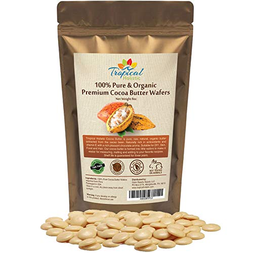 Fair Trade Cocoa Butter - Raw Cocoa Butter Wafers (8 ounce) - 100% Natural Unrefined, Non-Deodorized, Organic Fair Trade Cacao Beans From Peru - Best for Food, Hair, Skin and DIY Such as chocolate bars