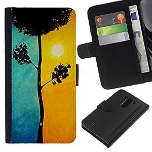 KLONGSHOP // Tirón de la caja Cartera de cuero con ranuras para tarjetas - Blue Tree Significado Sun Pintura - LG G3 //