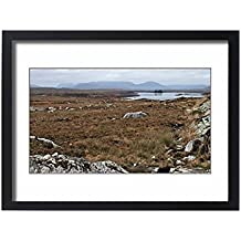 Framed 24x18 Print of Rugged landscape of Connemara with peat bogs, granite, loughs (7389709)