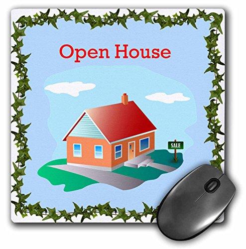 3dRose impresión del inmobiliarias abierto cartel para con venta de casa y 1Story Home alfombrilla de mouse, 20.3x...